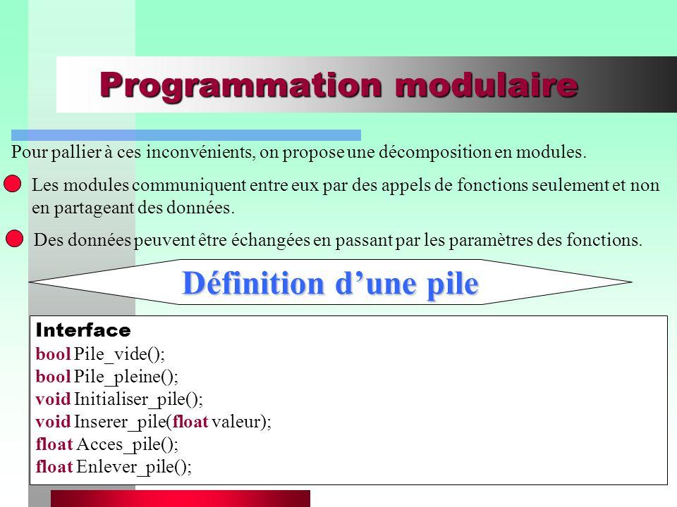 Chapitre I - Introduction à la programmation orientée objets10 Programmation modulaire Les modules communiquent entre eux par des appels de fonctions