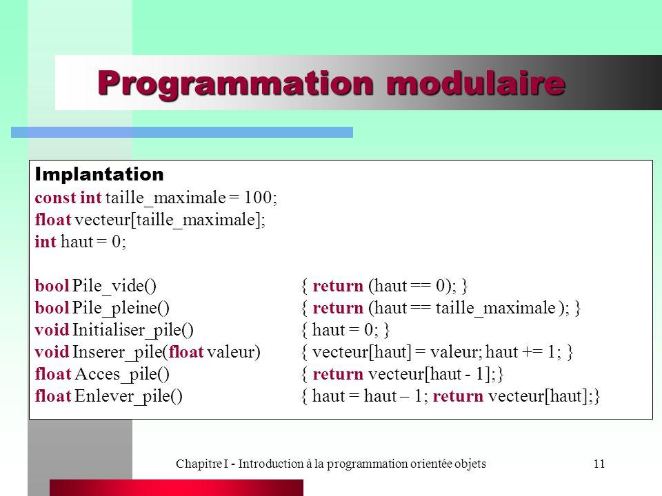 Chapitre I - Introduction à la programmation orientée objets11 Programmation modulaire Implantation const int taille_maximale = 100; float vecteur[tai