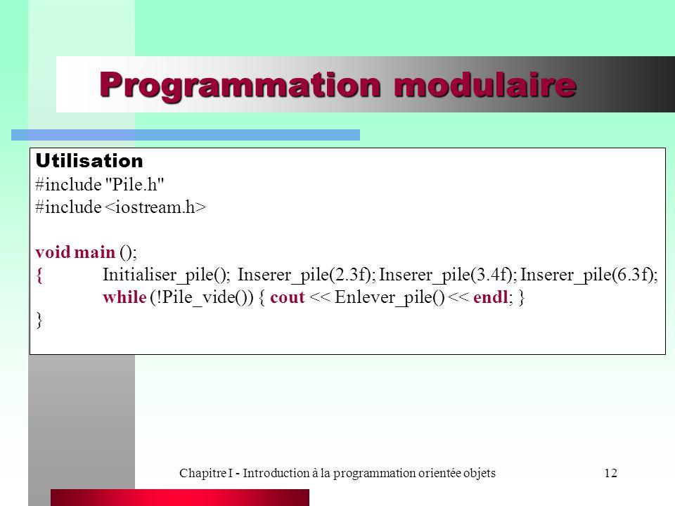 Chapitre I - Introduction à la programmation orientée objets12 Programmation modulaire Utilisation #include