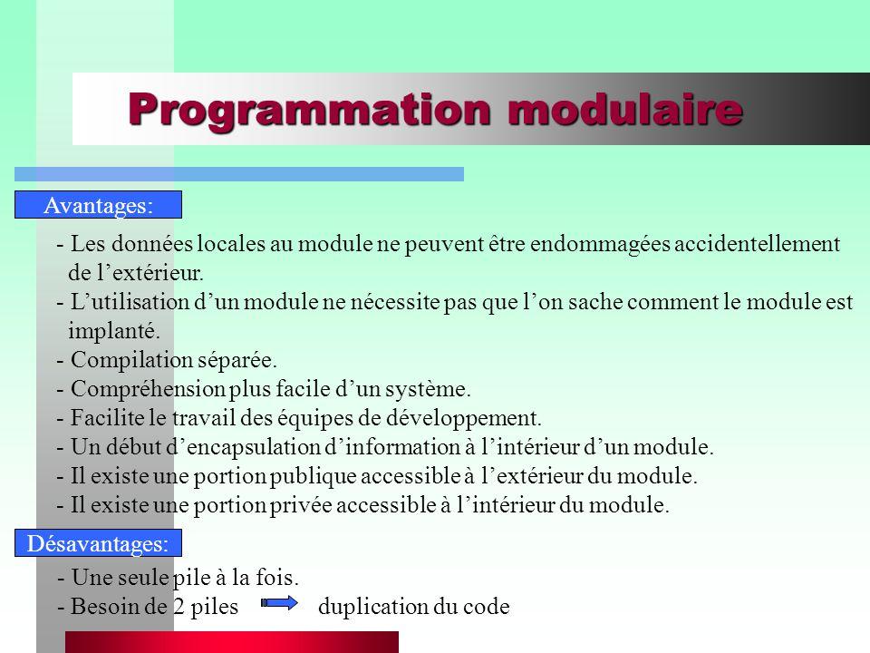 Programmation modulaire Avantages: - Les données locales au module ne peuvent être endommagées accidentellement de l'extérieur. - L'utilisation d'un m