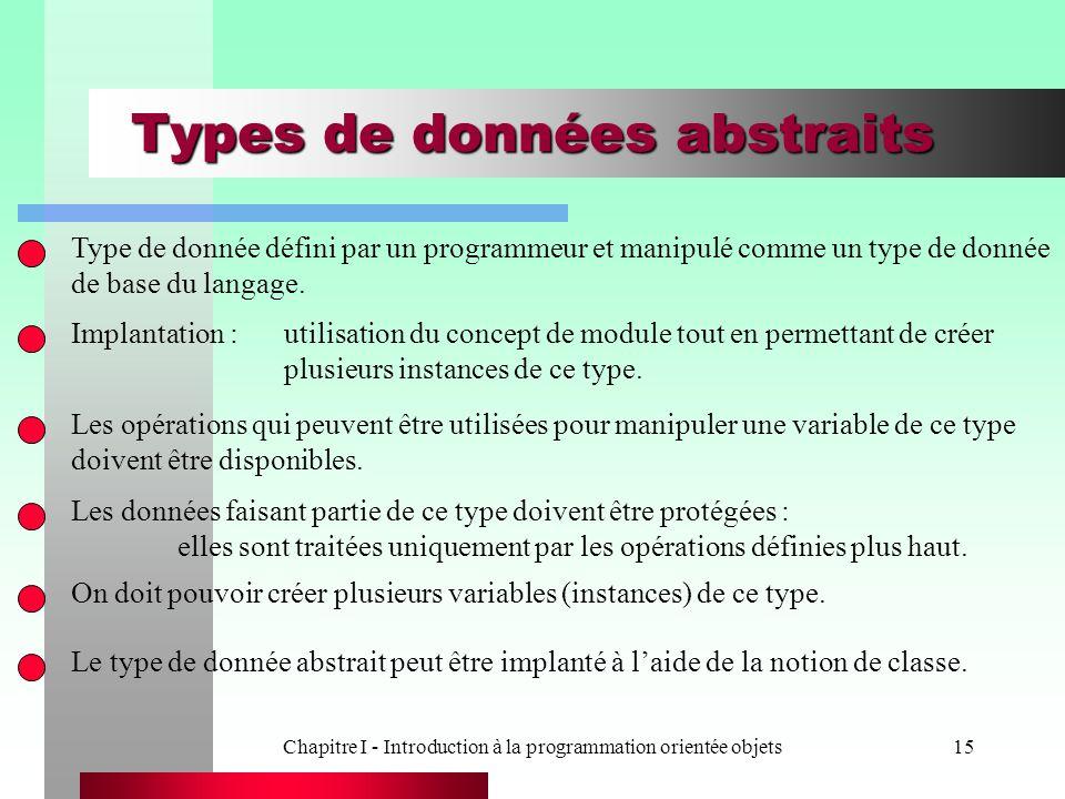 Chapitre I - Introduction à la programmation orientée objets15 Types de données abstraits Type de donnée défini par un programmeur et manipulé comme u