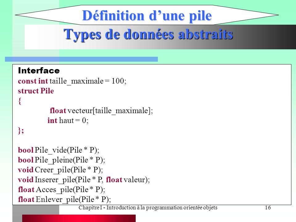 Chapitre I - Introduction à la programmation orientée objets16 Types de données abstraits Définition d'une pile Interface const int taille_maximale =