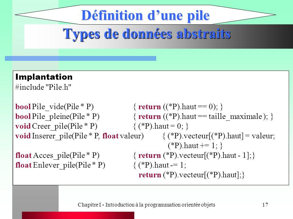 Chapitre I - Introduction à la programmation orientée objets17 Types de données abstraits Définition d'une pile Implantation #include