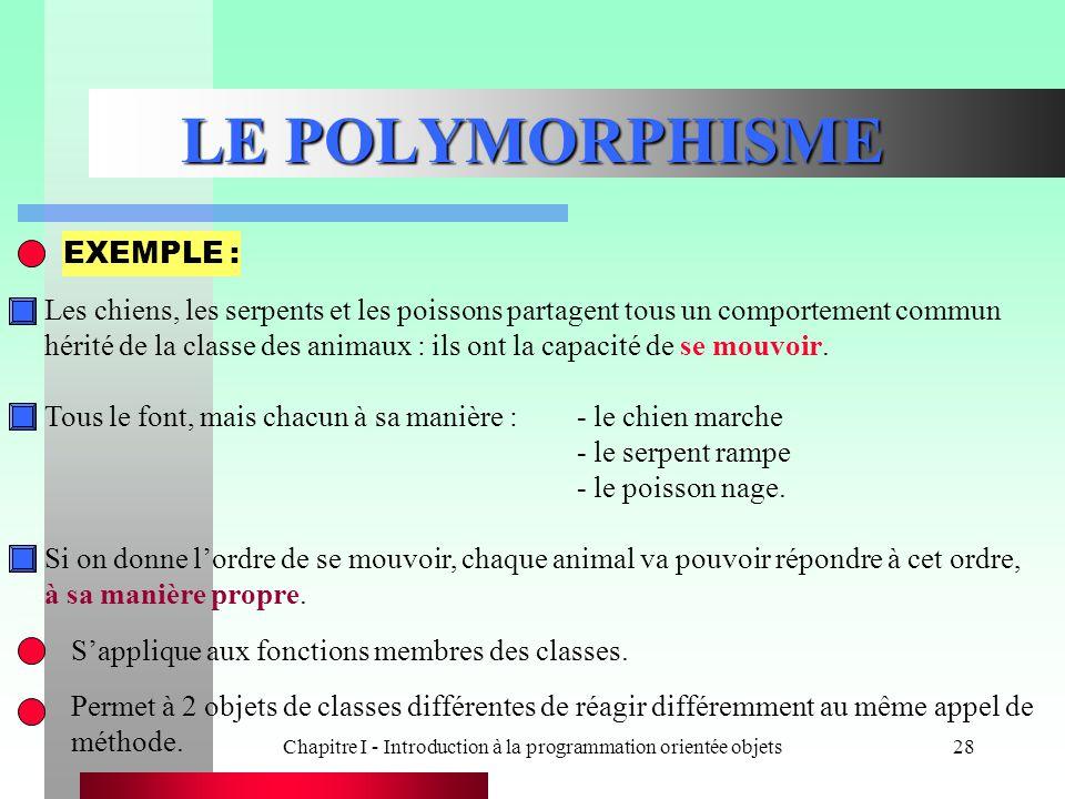 Chapitre I - Introduction à la programmation orientée objets28 LE POLYMORPHISME S'applique aux fonctions membres des classes. Permet à 2 objets de cla