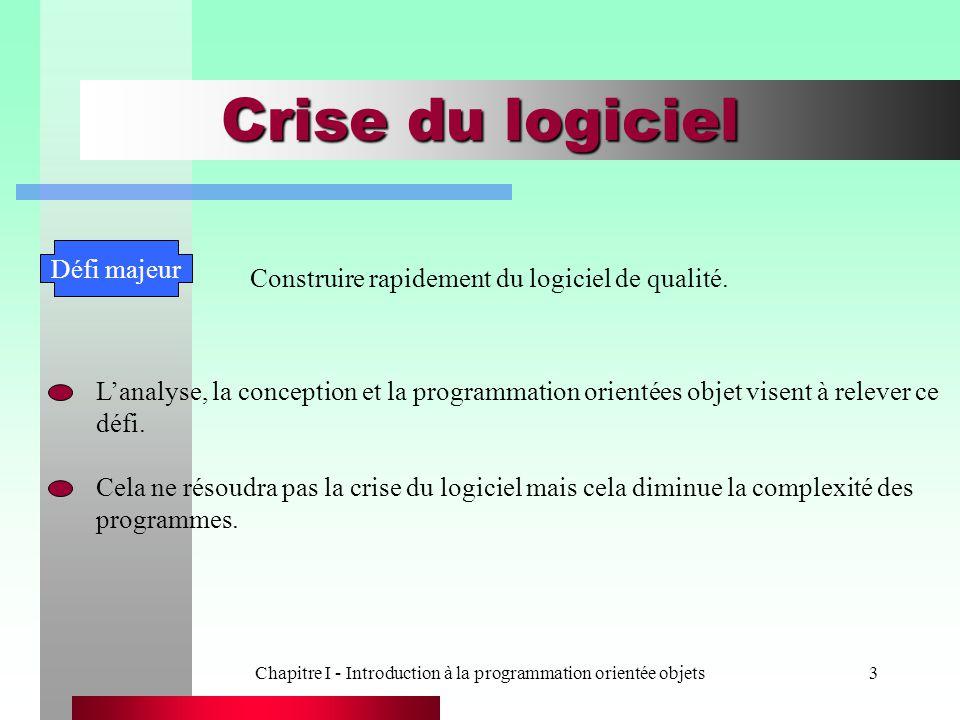 Chapitre I - Introduction à la programmation orientée objets3 Crise du logiciel Défi majeur Construire rapidement du logiciel de qualité. L'analyse, l