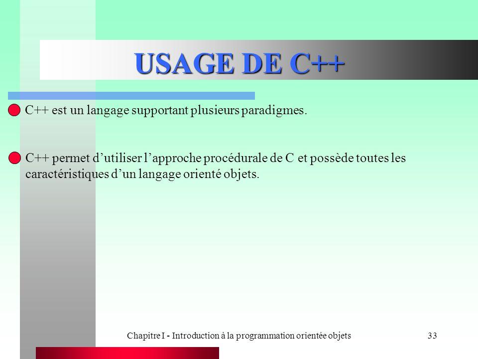 Chapitre I - Introduction à la programmation orientée objets33 USAGE DE C++ C++ est un langage supportant plusieurs paradigmes. C++ permet d'utiliser