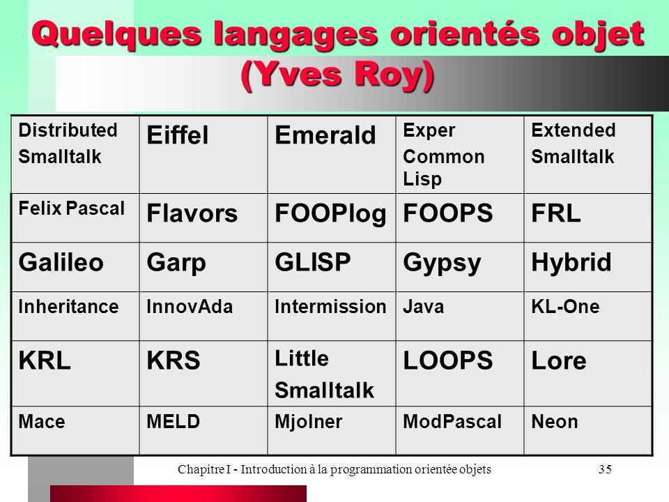 Chapitre I - Introduction à la programmation orientée objets35 Quelques langages orientés objet (Yves Roy) Distributed Smalltalk EiffelEmerald Exper C