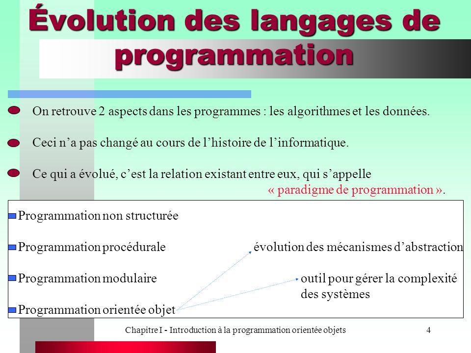 Chapitre I - Introduction à la programmation orientée objets4 Évolution des langages de programmation On retrouve 2 aspects dans les programmes : les