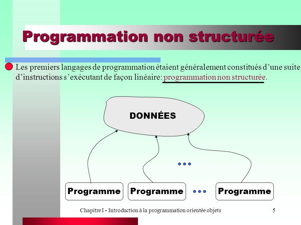 Chapitre I - Introduction à la programmation orientée objets5 Programmation non structurée Les premiers langages de programmation étaient généralement