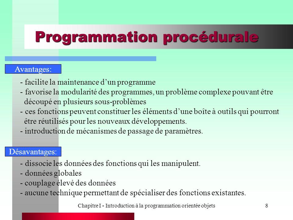 Chapitre I - Introduction à la programmation orientée objets8 Programmation procédurale Avantages: - facilite la maintenance d'un programme - favorise