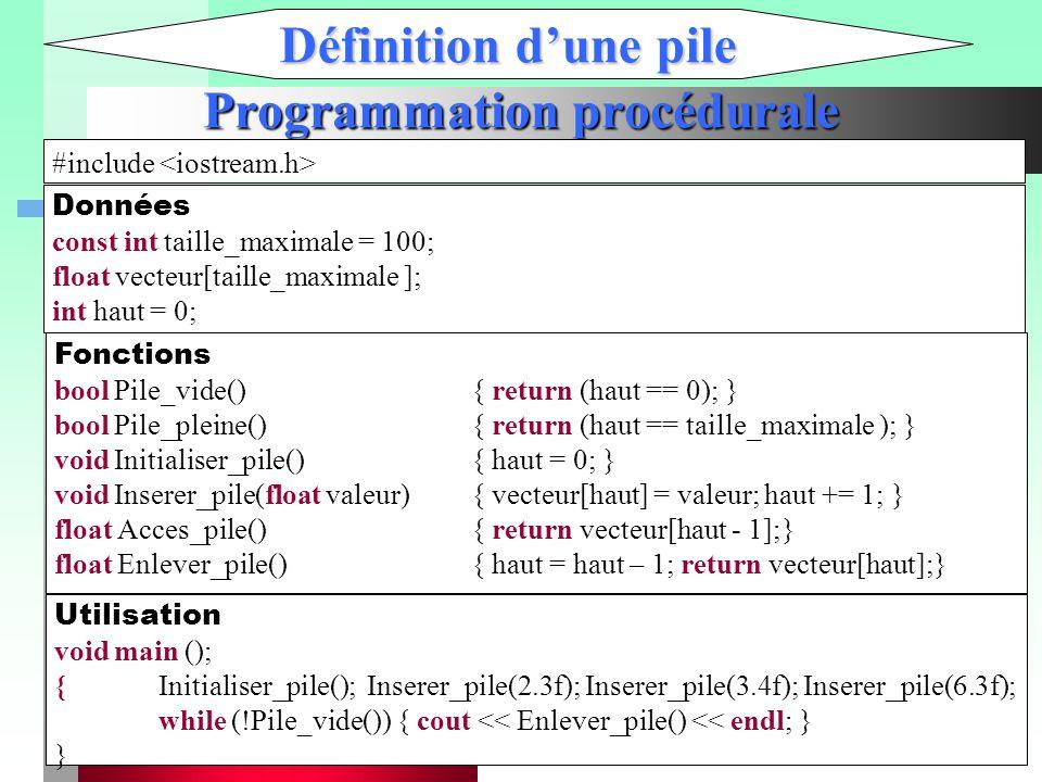 Programmation procédurale Définition d'une pile #include Données const int taille_maximale = 100; float vecteur[taille_maximale ]; int haut = 0; Fonct