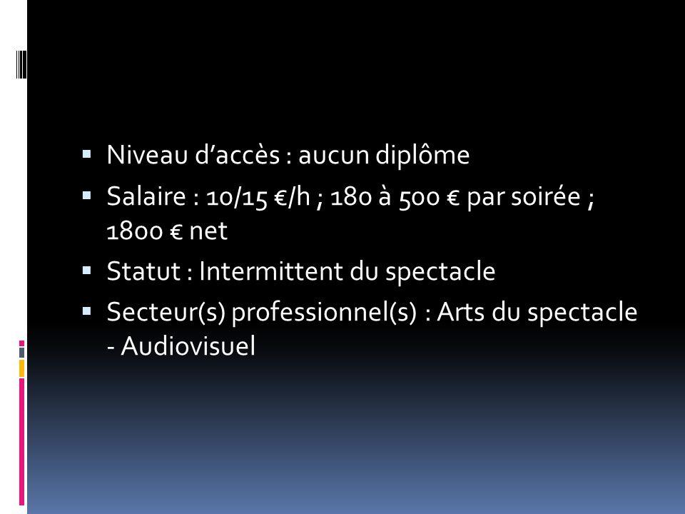  Niveau d'accès : aucun diplôme  Salaire : 10/15 €/h ; 180 à 500 € par soirée ; 1800 € net  Statut : Intermittent du spectacle  Secteur(s) profess