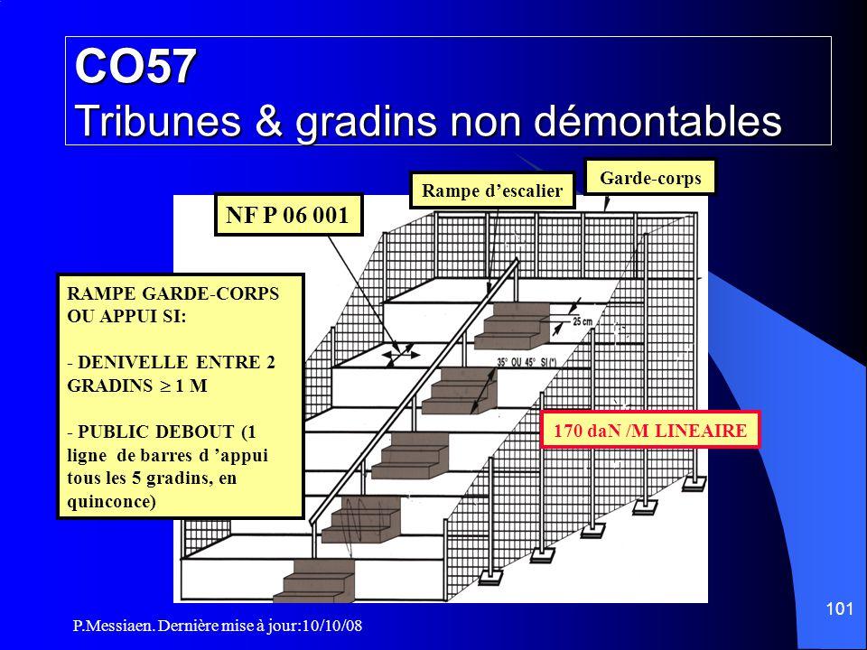 P.Messiaen. Dernière mise à jour:10/10/08 100 CO57 Tribunes & gradins non démontables Alignement des nez de marches peut atteindre 45° si les circulat