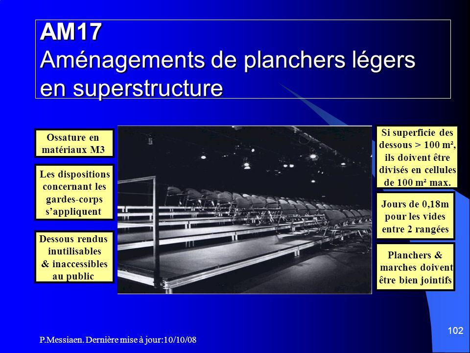 P.Messiaen. Dernière mise à jour:10/10/08 101 NF P 06 001 Rampe d'escalier CO57 Tribunes & gradins non démontables Garde-corps RAMPE GARDE-CORPS OU AP