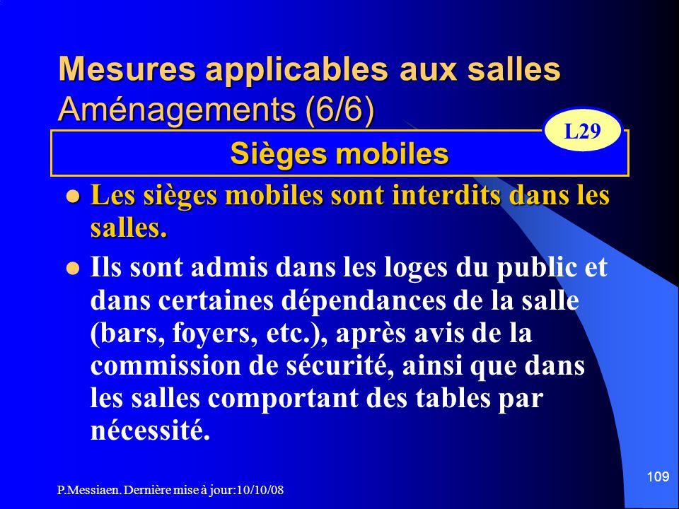 P.Messiaen. Dernière mise à jour:10/10/08 108 Mesures applicables aux salles Aménagements (5/6) Strapontins  ils doivent se replier automatiquement u