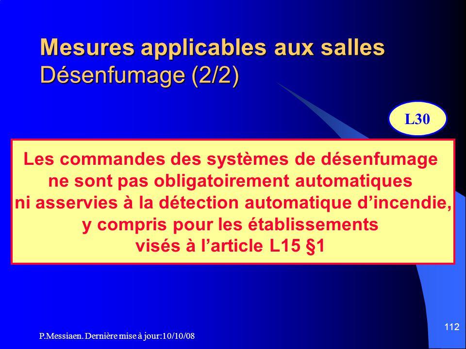 P.Messiaen. Dernière mise à jour:10/10/08 111 Mesures applicables aux salles Désenfumage (1/2) Type de désenfumage selon IT246 Salles concernées Class