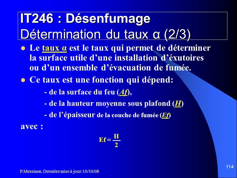 P.Messiaen. Dernière mise à jour:10/10/08 113 IT246 : Désenfumage Détermination du taux α (1/3)  Les classes de désenfumage permettent de déterminer