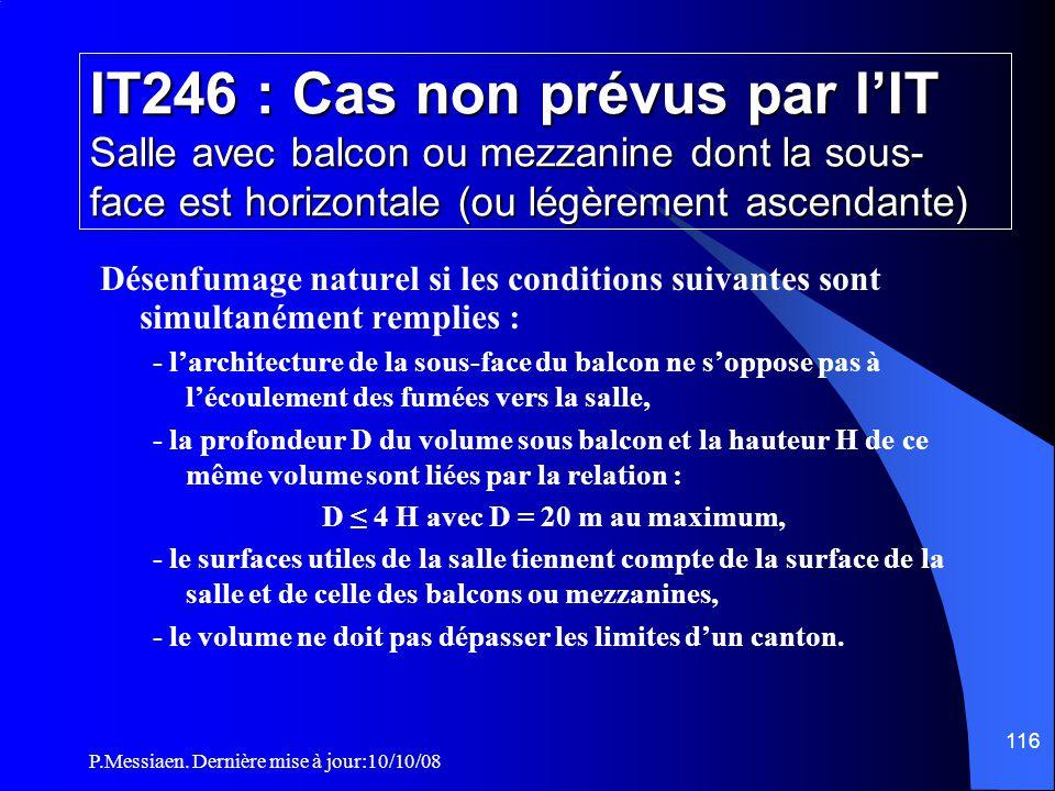 P.Messiaen. Dernière mise à jour:10/10/08 115 IT246 : Désenfumage Détermination du taux α (3/3) Af Surface de feu (Af) Appellation α Formule de calcul
