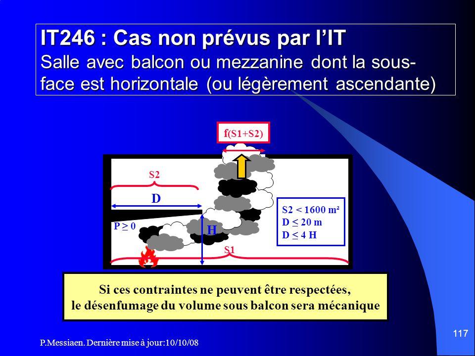 P.Messiaen. Dernière mise à jour:10/10/08 116 IT246 : Cas non prévus par l'IT Salle avec balcon ou mezzanine dont la sous- face est horizontale (ou lé