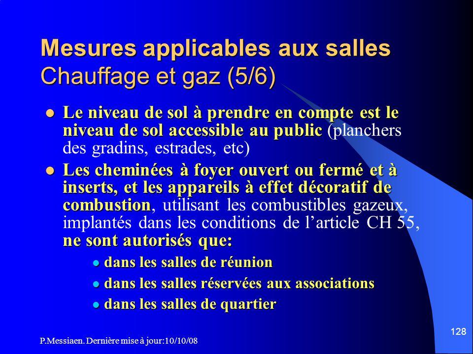 P.Messiaen. Dernière mise à jour:10/10/08 127 Mesures applicables aux salles Chauffage et gaz (4/6) Catégorie d'ERP Prescriptions Etablissements de 1