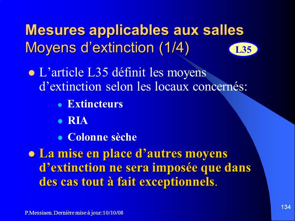P.Messiaen. Dernière mise à jour:10/10/08 133 Mesures applicables aux salles Eclairage (3/3) Type d'éclairage Prescriptions Eclairage d'ambiance le pa