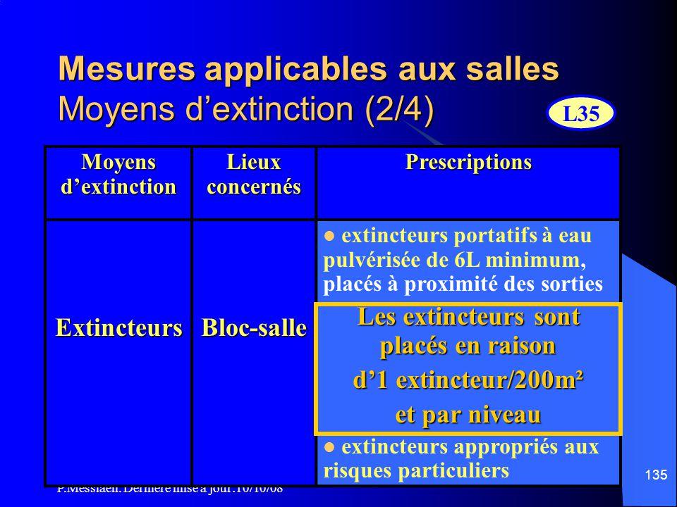 P.Messiaen. Dernière mise à jour:10/10/08 134 Mesures applicables aux salles Moyens d'extinction (1/4)  L'article L35 définit les moyens d'extinction