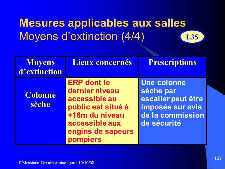 P.Messiaen. Dernière mise à jour:10/10/08 136 Mesures applicables aux salles Moyens d'extinction (3/4) RIA Etablissement de 1 ère, 2 ème et 3 ème caté