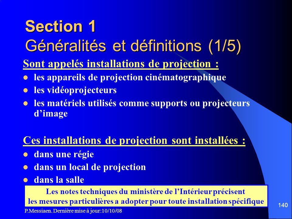 P.Messiaen. Dernière mise à jour:10/10/08 139 3ème partie: Mesures applicables aux installations de projection et aux équipements techniques de régie