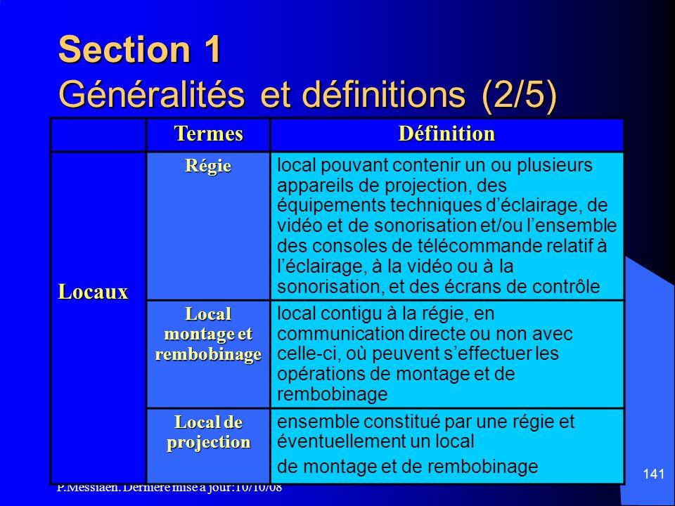 P.Messiaen. Dernière mise à jour:10/10/08 140 Section 1 Généralités et définitions (1/5) Sont appelés installations de projection :  les appareils de