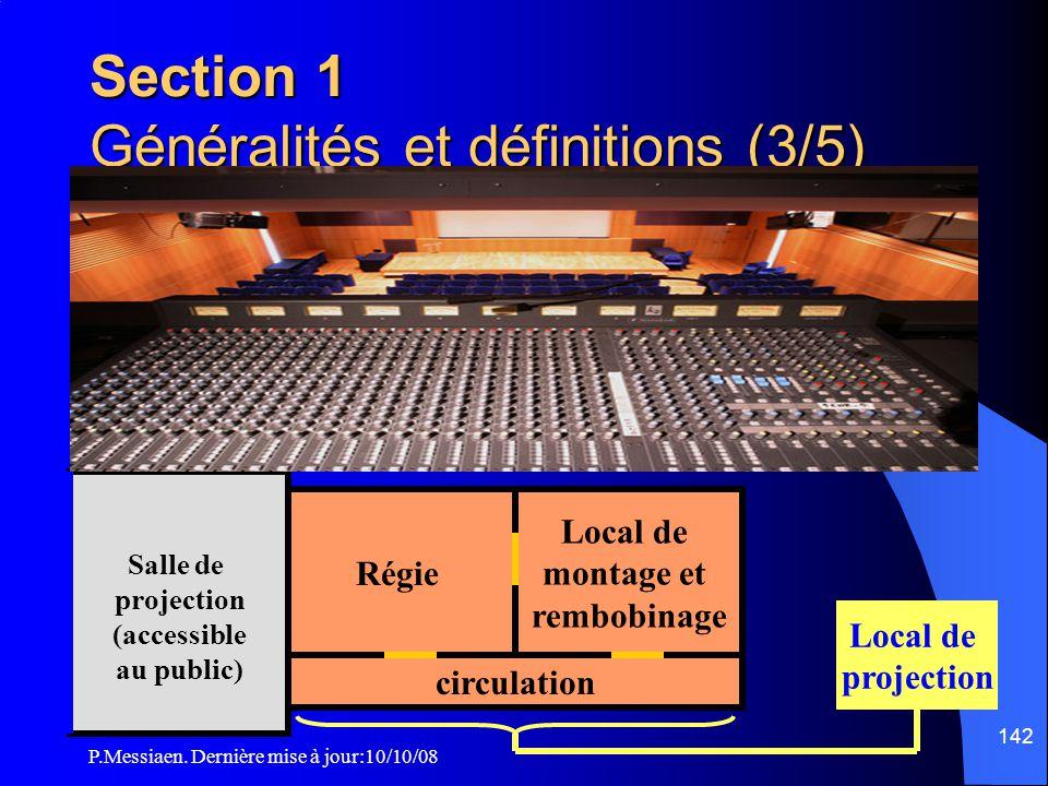 P.Messiaen. Dernière mise à jour:10/10/08 141 Section 1 Généralités et définitions (2/5) TermesDéfinition LocauxRégie local pouvant contenir un ou plu