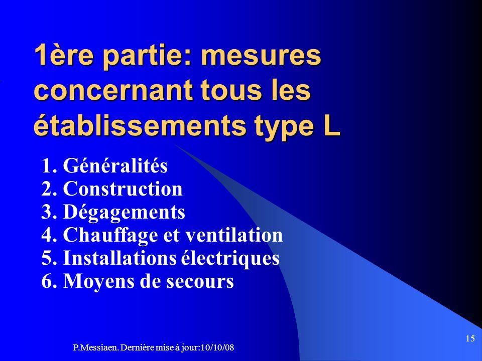 P.Messiaen. Dernière mise à jour:10/10/08 14 Légende : titres de diapositives Section 1: Généralités Réglement de sécurité : type L CO43 Répartition d