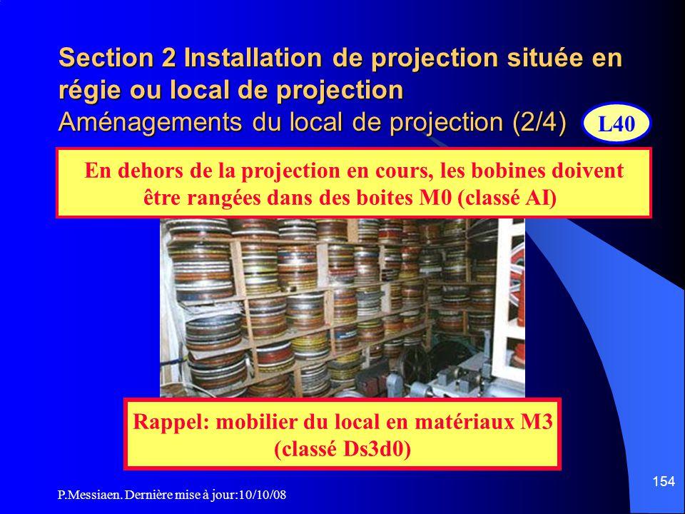 P.Messiaen. Dernière mise à jour:10/10/08 153 Section 2 Installation de projection située en régie ou local de projection Aménagements du local de pro