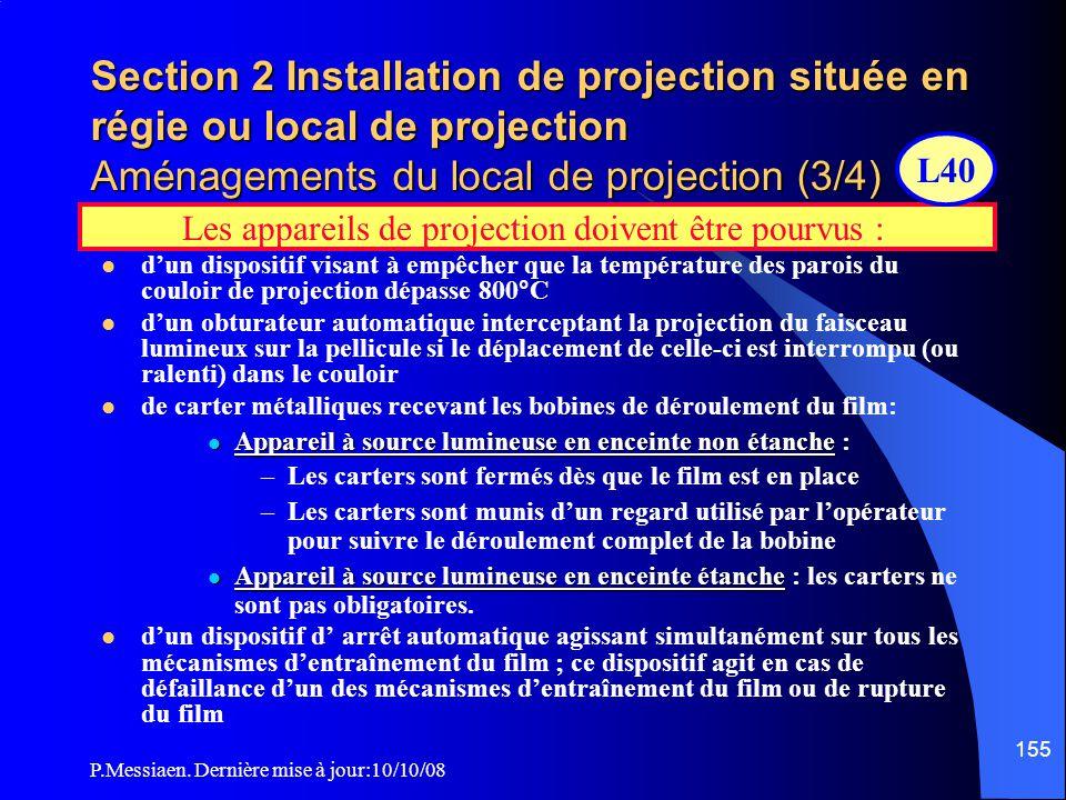 P.Messiaen. Dernière mise à jour:10/10/08 154 Section 2 Installation de projection située en régie ou local de projection Aménagements du local de pro