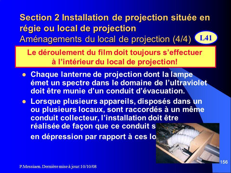 P.Messiaen. Dernière mise à jour:10/10/08 155 Section 2 Installation de projection située en régie ou local de projection Aménagements du local de pro