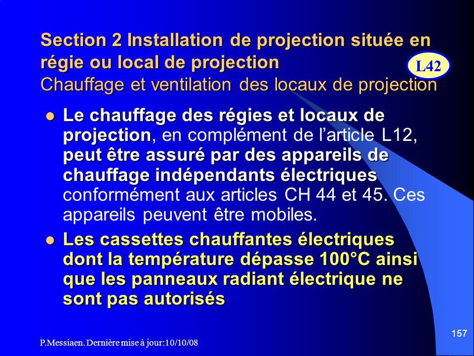P.Messiaen. Dernière mise à jour:10/10/08 156 Section 2 Installation de projection située en régie ou local de projection Aménagements du local de pro