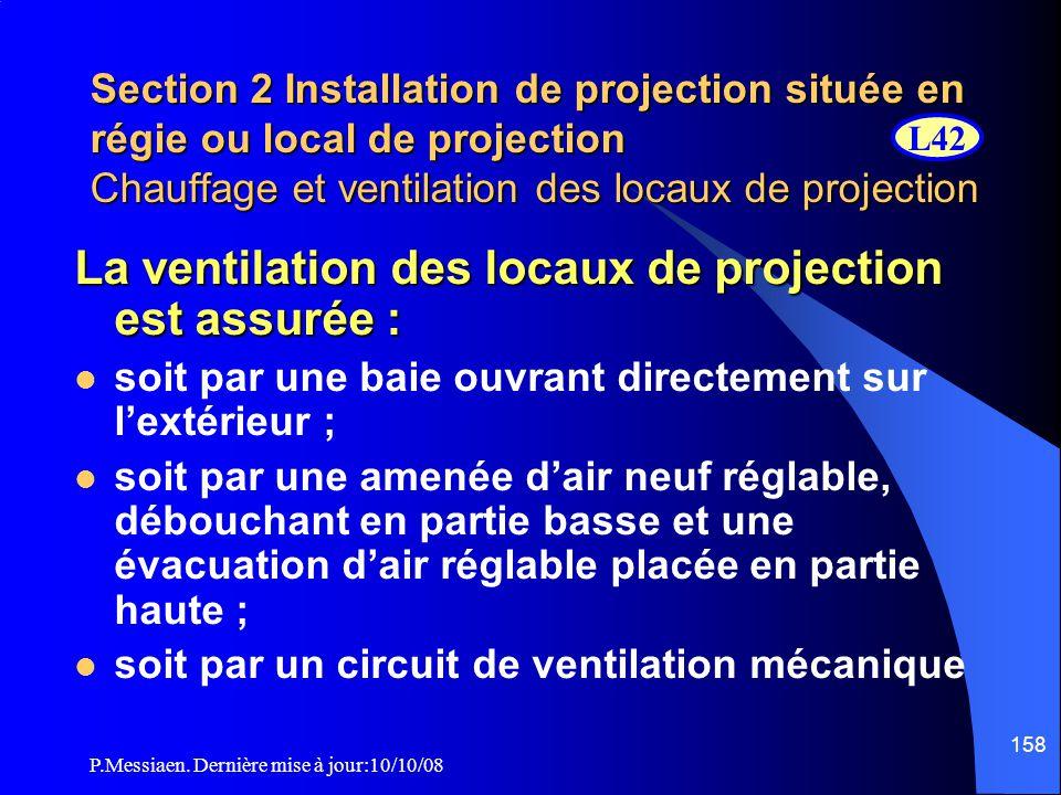 P.Messiaen. Dernière mise à jour:10/10/08 157 Section 2 Installation de projection située en régie ou local de projection Chauffage et ventilation des