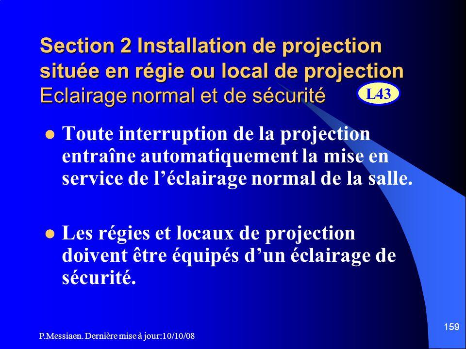 P.Messiaen. Dernière mise à jour:10/10/08 158 Section 2 Installation de projection située en régie ou local de projection Chauffage et ventilation des