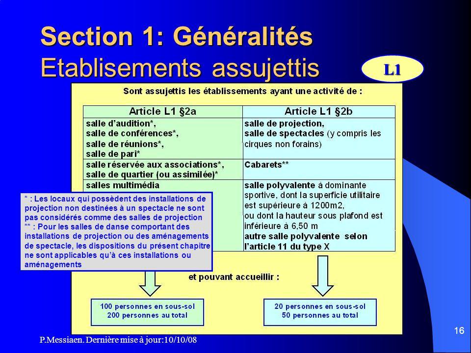 P.Messiaen. Dernière mise à jour:10/10/08 15 1ère partie: mesures concernant tous les établissements type L 1. Généralités 2. Construction 3. Dégageme