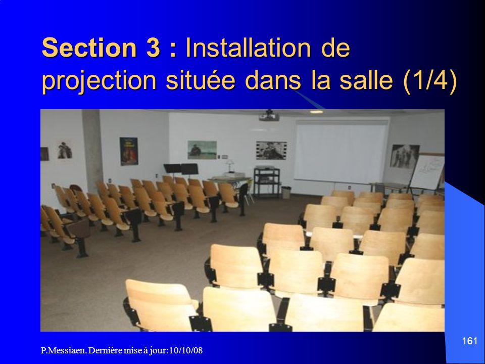 P.Messiaen. Dernière mise à jour:10/10/08 160 Section 2 Installation de projection située en régie ou local de projection Moyens d'extinction des loca
