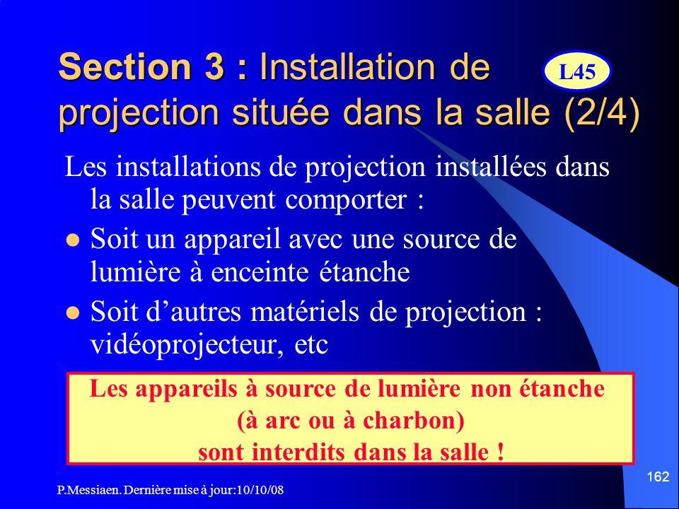 P.Messiaen. Dernière mise à jour:10/10/08 161 Section 3 : Installation de projection située dans la salle (1/4)