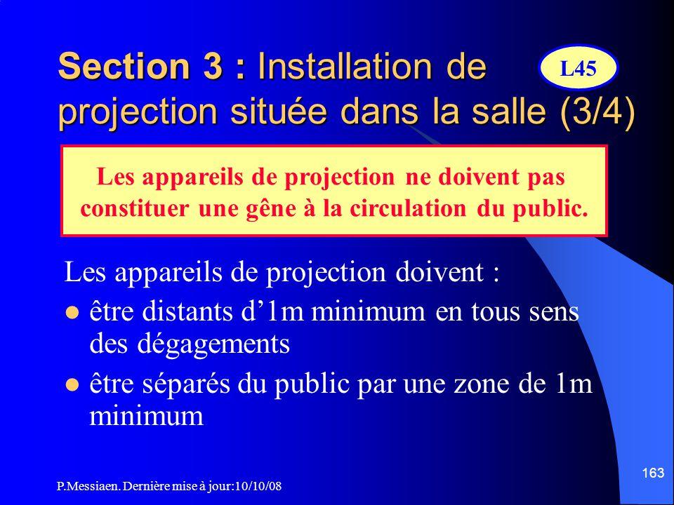P.Messiaen. Dernière mise à jour:10/10/08 162 Section 3 : Installation de projection située dans la salle (2/4) Les installations de projection instal