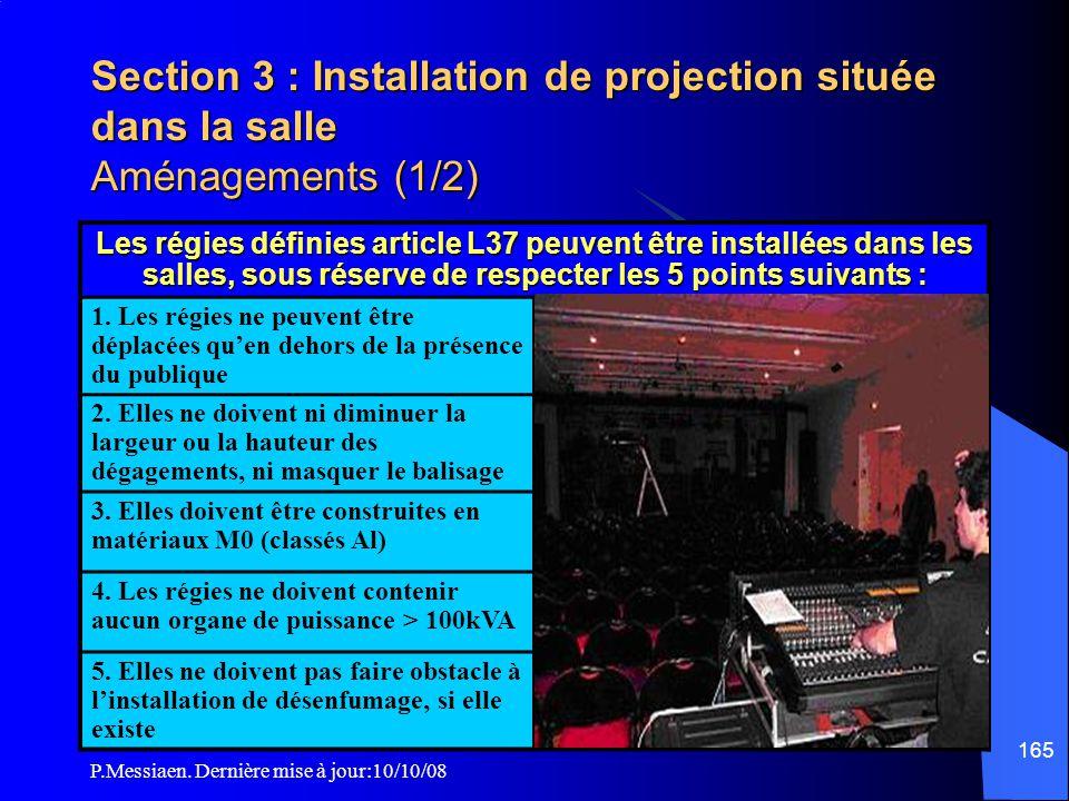 P.Messiaen. Dernière mise à jour:10/10/08 164 Section 3 : Installation de projection située dans la salle (4/4) Appareil de projection 1m salle dégage