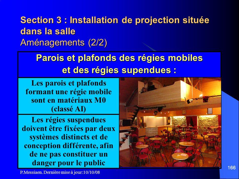 P.Messiaen. Dernière mise à jour:10/10/08 165 Section 3 : Installation de projection située dans la salle Aménagements (1/2) Les régies définies artic