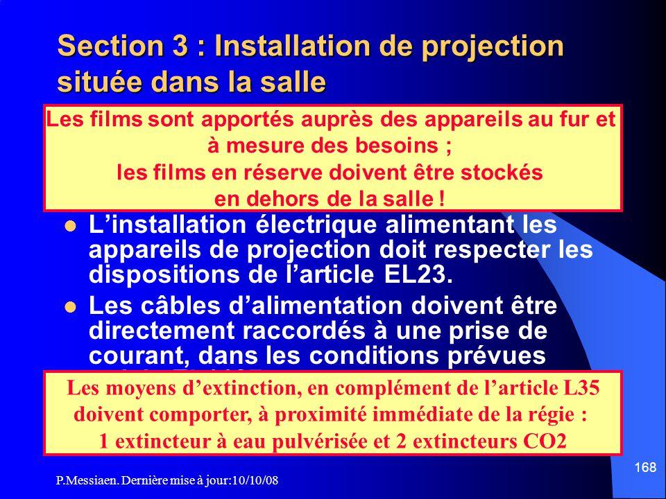 P.Messiaen. Dernière mise à jour:10/10/08 167 Section 3 : Installation de projection située dans la salle Appareils de projection Les appareils de pro