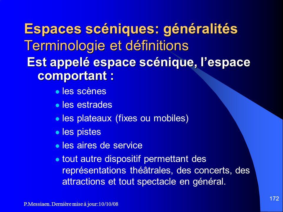 P.Messiaen. Dernière mise à jour:10/10/08 171 Mesures applicables aux espaces scéniques Terminologie et définitions