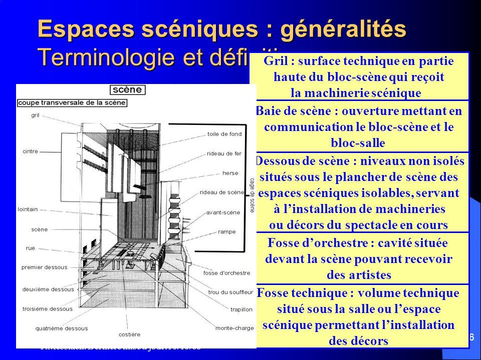P.Messiaen. Dernière mise à jour:10/10/08 175 Espaces scéniques : généralités Terminologie et définitions • Le bloc-scène est le volume destiné à rece