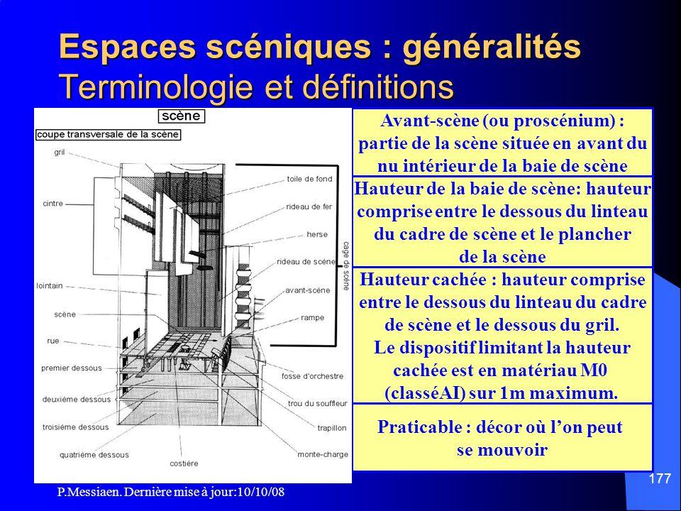 P.Messiaen. Dernière mise à jour:10/10/08 176 Fosse technique : volume technique situé sous la salle ou l'espace scénique permettant l'installation de