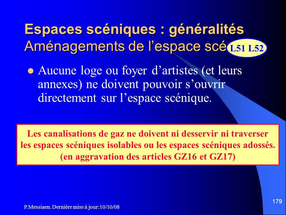 P.Messiaen. Dernière mise à jour:10/10/08 178 Espaces scéniques : généralités Aménagements de l'espace scénique L50 Une ou des aires de service, peuve
