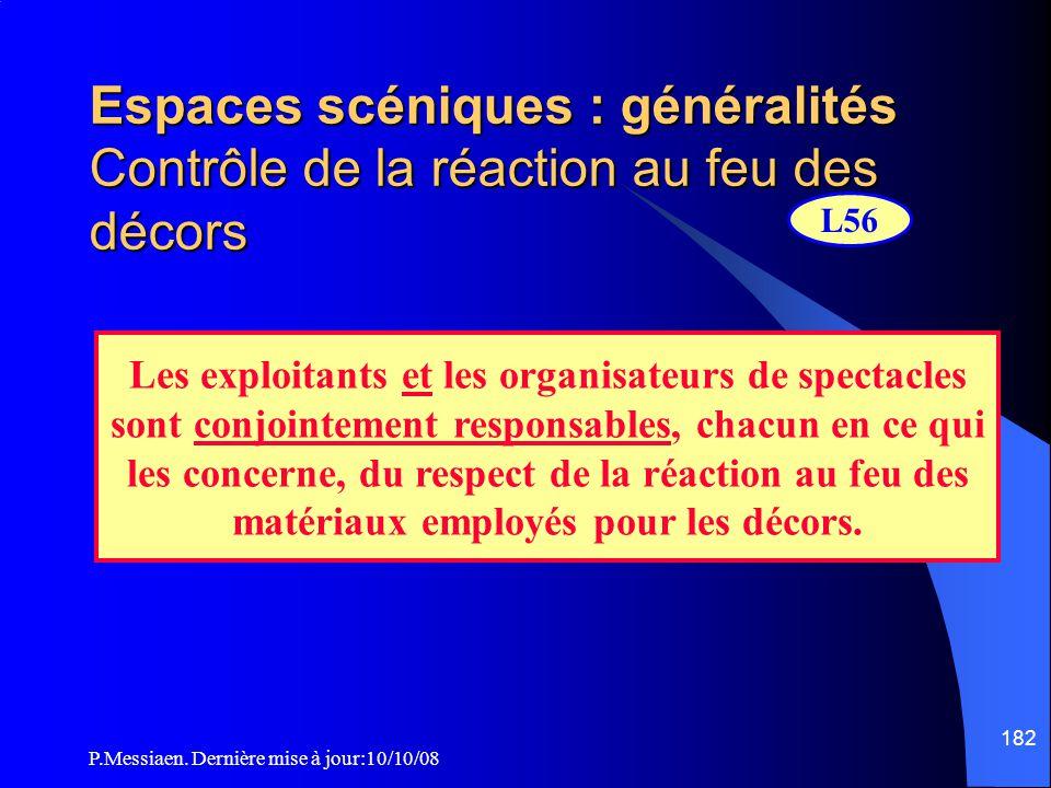 P.Messiaen. Dernière mise à jour:10/10/08 181 Espaces scéniques : généralités Utilisation d'artifices et/ou de flammes Spectacle utilisant des Artific
