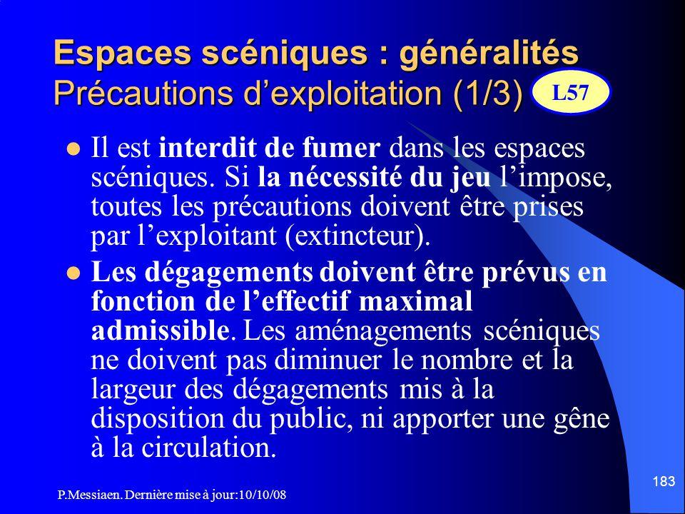 P.Messiaen. Dernière mise à jour:10/10/08 182 Espaces scéniques : généralités Contrôle de la réaction au feu des décors L56 Les exploitants et les org
